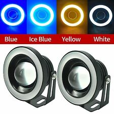 "Pair 2.5"" LED Tube Angel Eye Fog Projector Light 4 Colors Halo Ring DRL Bulb 30W"