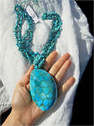 NWT! ~ SAJEN ~ TURQUOISE INLAY LARGE SHELL OYSTER PENDANT 4 STRAND ~ NECKLACE