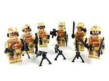 Custom Minifigure 6x Army Commando del deserto SWAT Squadra & ARMA Bundle Fit LEGO