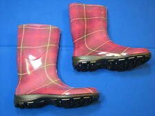 11 Womens Plaid Ladies Rain boots Made In Canada Tall Pink Knee High Slip Rubber