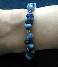 """Blue lapis stone bracelet with stainless steel lobster claw clasp and pins 7.5"""""""
