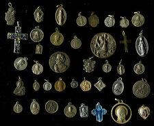 Vintage Catholic Religious antique Holy hard Medals brooch    -lot of 40