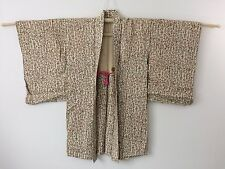 Authentic Japanese ivory white haori jacket for kimono, with himo, used (G1112)