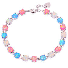 "White Blue Pink Fire Opal Women Jewelry Gemstone Silver Bracelet 7""-8 1/2"" OS386"