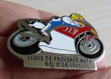 PIN'S MOTO COURSE BOL D'OR 91 LIGUE DE PROVENCE DOUBLE ATTACHE