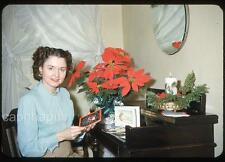 Beautiful Girl Reads Her Christmas Cards Poinsettia Candle Vtg 1950 Slide Photo