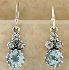 GENUINE BLUE TOPAZ ANTIQUE VICTORIAN STYLE 925 STERLING SILVER EARRINGS,    #889