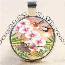 Hummingbird With Flower Cabochon Glass Tibet Silver Chain Pendant Necklace#2408
