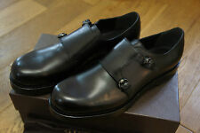 NEW GUCCI BLACK LEATHER DOUBLE MONK STRAP LOAFERS SHOES UK 11.5 RP £690