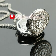 Antique Women Silver Tone Hollow Round Quartz Pocket Watch Necklace Chain New