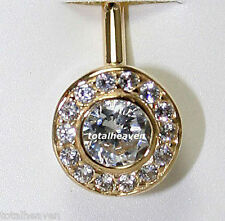 1.56g Solid 14k Yellow Gold Belly Naval Ring Bezel Set Sparkling D-Flawless CZ