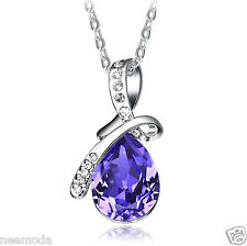 Mother's Day Gifts NEEMODA Luxury Purple Crystal Pendant Necklace Women Jewelry