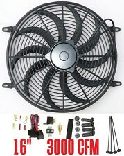 "16"" electric Fan S blades radiator Fan 3000CFM reversible & thermostat relay kit"