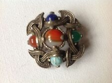 Vintage Miracle Brooch - Scottish Celtic Style, glass agates, signed