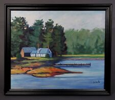 "Oil Painting on Canvas with Frame, ""Lake House. Dock. Forest. Landscape"", Signed"
