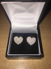Stunning 1/2 Carat Diamond Heart Cluster Earrings 9ct Yellow Gold New 50pt