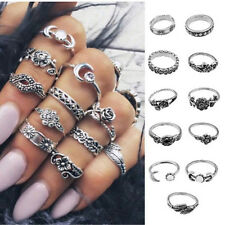 11Pcs Retro Silver Boho Fashion Arrow Moon Midi Finger Knuckle Rings Jewelry FS