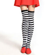 Women Girl Over Knee Long Stripe Print Ladies Thigh High Striped Patterned Socks