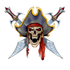 3X Waterproof Temporary Tattoo Stickers Cute Scary Pirates Skull