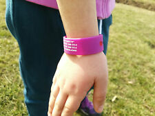 Child Kid Safety ID Wristband or Medical ID Bracelet Allergy lost kid Holiday