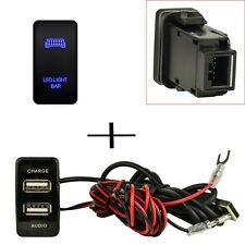 Push Switch + Dual USB Charger Audio Port Interface LED For Toyota Fortuner FJ