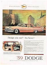 Vintage 1959 Magazine Ad Dodge New Swing-Out Swivel Seats & Door Clearance