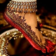 2pcs WHITE STONE PEARL GOLD BOLLYWOOD BRIDAL PARTY DANCE BELL BROAD ANKLET PAYAL