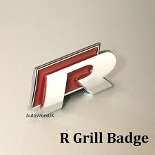 New VW R Grill Badge Emblem Decal Logo Grille Golf Polo Scirocco R line R20 Red