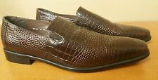 STACY ADAMS Brow Aligator Print Leather Dress Loafers Slip On Shoes 13 M NWOB