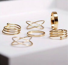 Celebrity 6Pcs/Set Midi Above Knuckle Ring Band Gold Plated Tip Finger Stacking