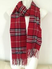 100% CASHMERE SCARF PLAID DESIGN BURGUNDY MADE IN SCOTLAND SUPER SOFT