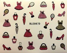 Nail Art 3D Glitter Decal Stickers Dress Up Purse Umbrella Shoes Polish BLE987D