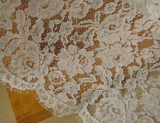 "Ivory Eyelash Corded Lace Fabric 40"" Wide Chantilly Bridal Lace 3m/piece"