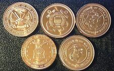 LOT OF 5 DIFFERENT 1 OZ COPPER ROUNDS - UNITED STATES ARMED FORCES