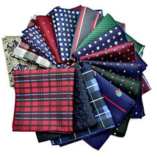 10 Pcs Men Handkerchief Silk Pocket Square Paisley Polka Hanky Wedding 42 Color