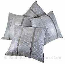 "Set of 4 Triple Diamante Silver Grey Sparkle Bling Velvet 17"" Cushion Covers"