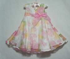 BONNIE BABY Easter Dress Girl Sz 24M Pink Yellow White Floral EUC!!