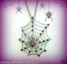 HALLOWEEN PURPLE SPIDER WEB RHINESTONE SILVER NECKLACE PENDANT~VINTAGE STY GOTH