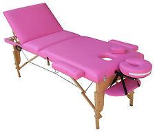 TABLE DE MASSAGE ROSE PLIANTE PORTABLE EN BOIS REIKI Esthétique 3 zones