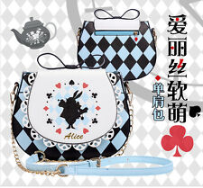 Alice in Wonderland Rabbit PU Argyle Shoulder Bags Bow Tie Handbag Lolita Women