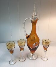 Vintage Mid Century Amber Art Glass Italy Decanter Set Cordial Glasses