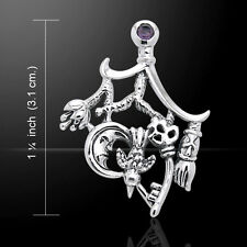 Cimaruta Witch .925 Sterling Silver Charm with Amethyst Accent by Peter Stone