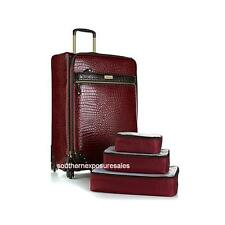 "Samantha Brown 28"" Upright Spinner Luggage with 3-pc Packing Cubes Burgundy"