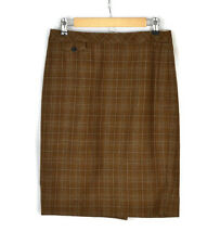 J.CREW No. 2 Pencil Skirt Brown Plaid Wool Size 4 Women's EX COND!