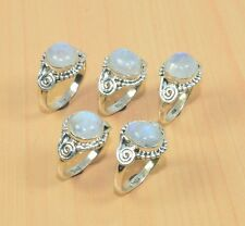 WHOLESALE 5PC 925 SOLID STERLING SILVER NATURAL RAINBOW MOON STONE RING LOT16.7g