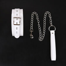 SEXY WHITE SOFT BONDAGE SLAVE COLLAR WITH STAINLESS STEEL LEASH
