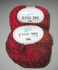 Lot of 10 balls RED RUST On Line LINIE 292 SAL chunky wool knitting yarn #0007