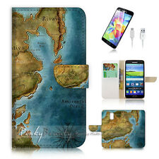 Samsung Galaxy S5 Flip Wallet Case Cover! P1003 Game Map