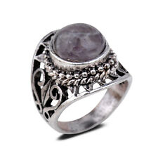 Size 8 Saucy Ancient Silver Purple Gemstone Band Ring Statement Women Jewelry