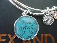 Alex and Ani IT IS WHAT IT IS II Shiny Silver Charm Bangle New W/Tag Card & Box